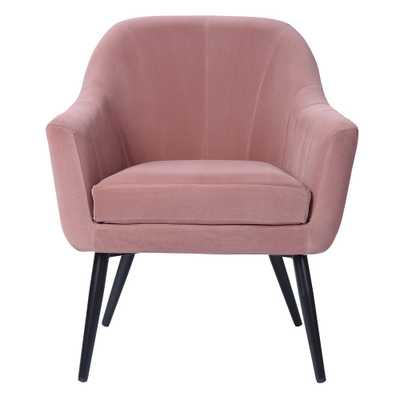 FURNISH Engle Pink Velvet Cover Leisure Arm Chair with Cushion, Pink Velvet Fabric - Home Depot