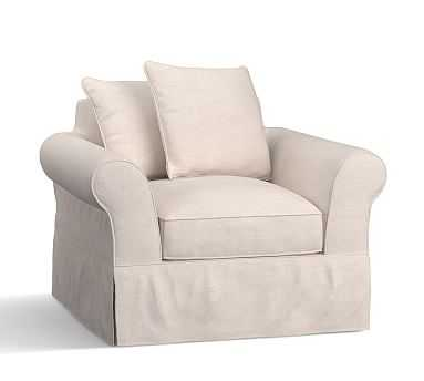 """PB Comfort Roll Arm Slipcovered Armchair 41.5"""", Scatter Back Down Blend Wrapped Cushions, Brushed Crossweave Navy - Pottery Barn"""