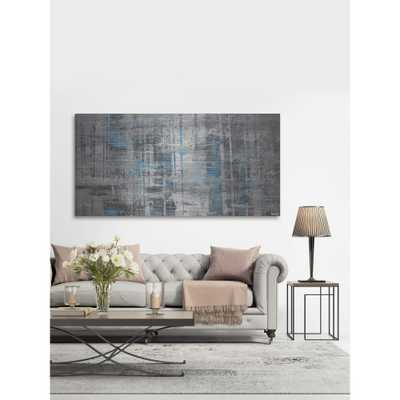 "30 in. H x 60 in. W ""Hints of Blue"" by Parvez Taj Printed Brushed Aluminum Wall Art - Home Depot"