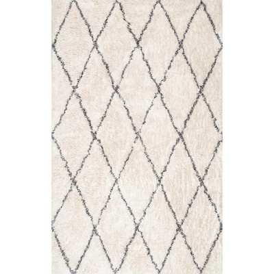 Sheba Cotton Diamond Shaggy Ivory 8 ft. x 10 ft. Area Rug - Home Depot