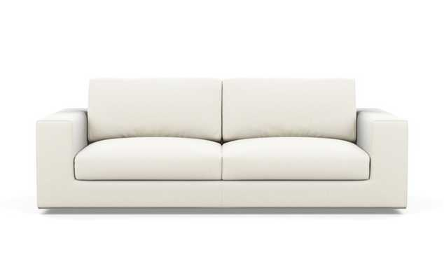 Walters Sofa with White Ivory Fabric and down alt. cushions - Interior Define