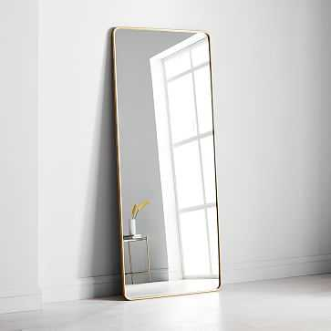 Modern Streamline Floor Mirror, Antique Brass - West Elm