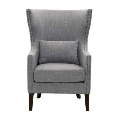 Bentley Smoke Grey Linen Upholstered Arm Chair, Smoke Linen Espresso - Home Depot