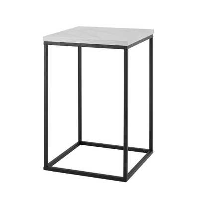 16 Open Box Side Table White Faux Marble/ Black - Saracina Home, White Faux Marble/Black - Target