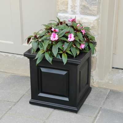 Nantucket 16 in. Square Black Plastic Planter - Home Depot