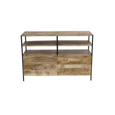 Classy Natural Wood Finish Elegant TV Unit, Natural Brown - Home Depot