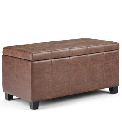 Simpli Home Dover 36 in. Distressed Umber Brown Faux Air Leather Contemporary Storage Ottoman - Home Depot