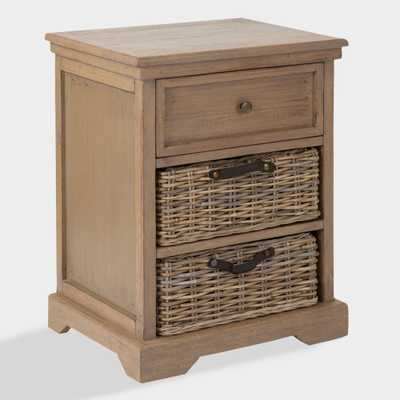 Gray Wood Delilah Nightstand with Rattan Baskets by World Market - World Market/Cost Plus