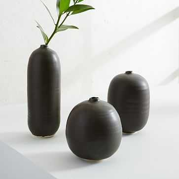 Judy Jackson Bottle Vase, Set of 3, Black. Tallest 11H - West Elm