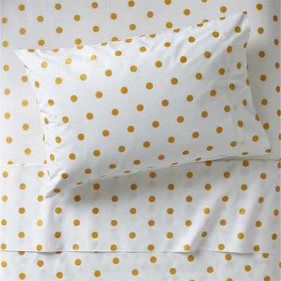 Organic Gold Polka Dot Twin Sheet Set - Crate and Barrel
