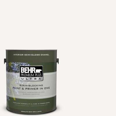 BEHR Premium Plus Ultra 1 gal. #75 Polar Bear Semi-Gloss Enamel Interior Paint and Primer in One, Whites - Home Depot
