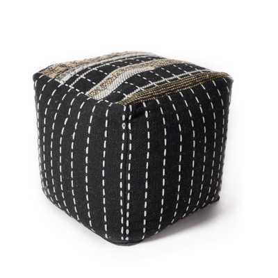 Black and White Pulse 18 in. x 18 in. Accent Pouf - Home Depot