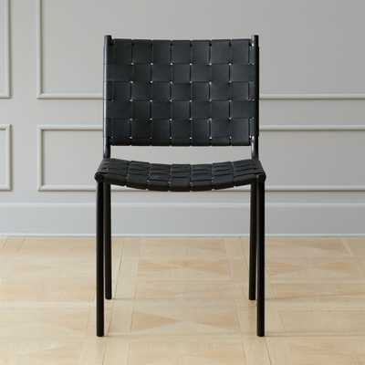 Woven Black Leather Dining Chair - CB2
