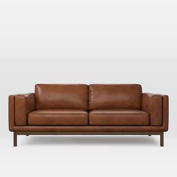 "Dekalb 85"" Sofa, Weston Leather, Molasses - West Elm"