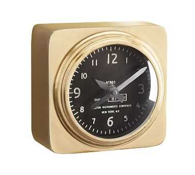 Aviator Desktop Clock, Brass - Pottery Barn