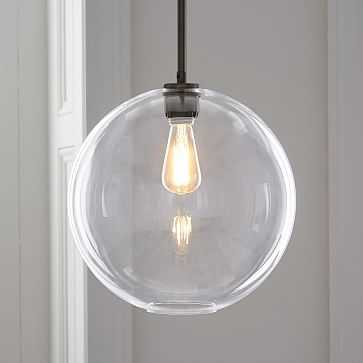 Sculptural Glass Globe Pendant, Large Globe, Clear Shade, Bronze Canopy - West Elm