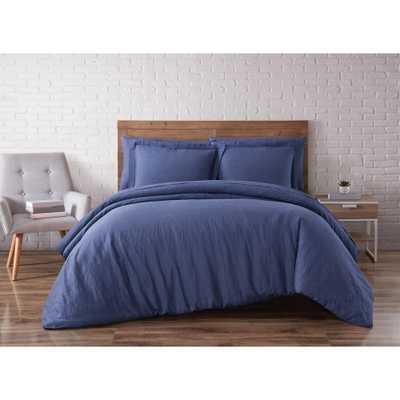 Linen Navy (Blue) Full/Queen Duvet Set - Home Depot