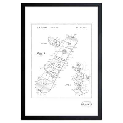 'Snowboard 2003' Framed Drawing Print in Silver - Wayfair