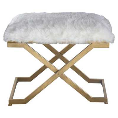 Lorna Regency White Faux Fur Antique Gold Stool - Kathy Kuo Home