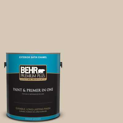 BEHR Premium Plus 1 gal. #MQ3-10 French Beige Satin Enamel Exterior Paint and Primer in One - Home Depot