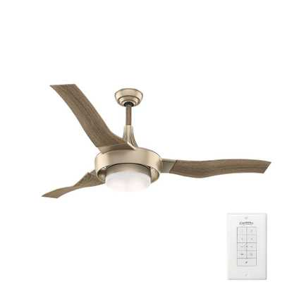 Casablanca Perseus 64 in. LED Indoor/Outdoor Metallic Sunsand Ceiling Fan - Home Depot