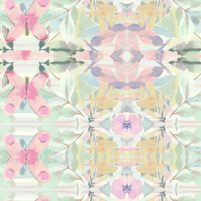 56 sq. ft. Young at Heart Synchronized Wallpaper, Pinks/Yellows/Purples/Greens - Home Depot
