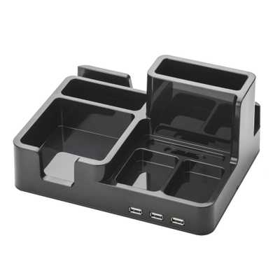 OMD,Desk Organizer and Docking Station for iPad/iPhone/Tablet/Smartphone with 3 USB ports in Black - Home Depot