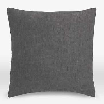"""Upholstery Fabric Pillow Cover, Square, 26""""x26"""", Linen Weave, Steel Gray - West Elm"""