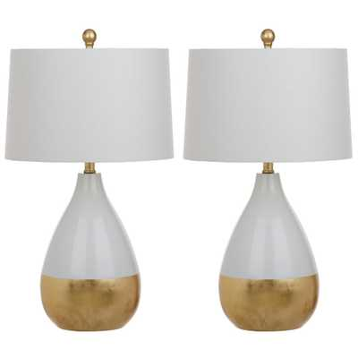 Safavieh Kingship 24 in. White/Gold Table Lamp (Set of 2) - Home Depot
