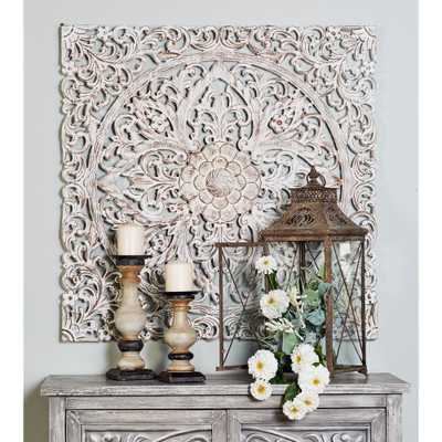 36 in. x 36 in. Carved Flowers and Flourishes Wood Wall Art, Distressed White - Home Depot