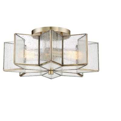 Natural Brass Semi Flush Mount Ceiling Lights with Clear Seeded Glass - Filament Design - Target