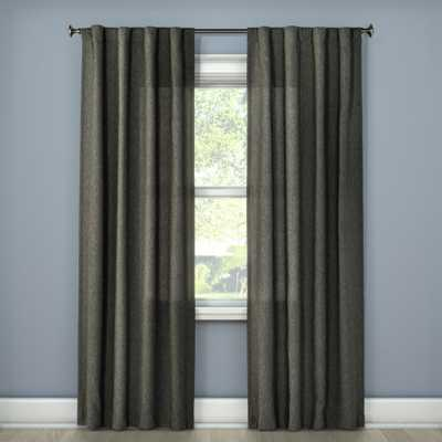 """Heathered Curtain Charcoal (Grey) (42""""x84"""") - Room Essentials - Target"""
