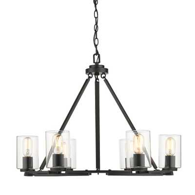 Golden Lighting Monroe 6 Light Black with Clear Glass Chandelier - Home Depot