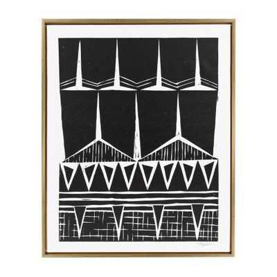 """Sylvie """"Modern Tribal Block Print."""" by Statement Goods Framed Canvas Wall Art, Gold - Home Depot"""