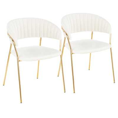 Tania Gold with White Velvet Arm Chair (Set of 2), White/Gold - Home Depot