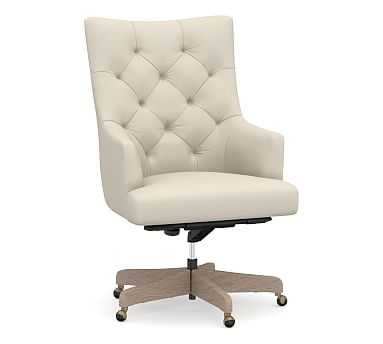 Radcliffe Desk Chair Gray Wash Base, Brushed Crossweave Light Gray - Pottery Barn