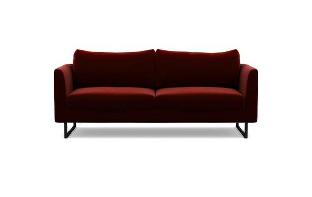 Owens Sofa with Red Bordeaux Fabric and Matte Black legs - Interior Define