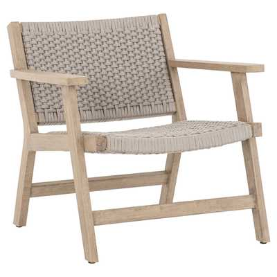 Udo Coastal Beach Grey Handwoven Rope Seat Brown Teak Outdoor Armchair - Kathy Kuo Home