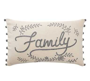 """Family Embroidered Lumbar Pillow Cover, 16 x 26"""", Multi - Pottery Barn"""