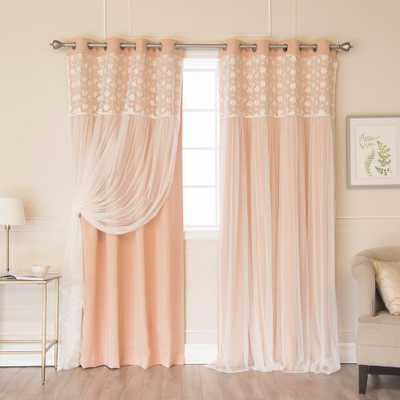 Best Home Fashion Indie Pink 96 in. L Irene Lace Overlay Blackout Curtain Panel (2-Pack), Indie Pink Floral Tulle - Home Depot