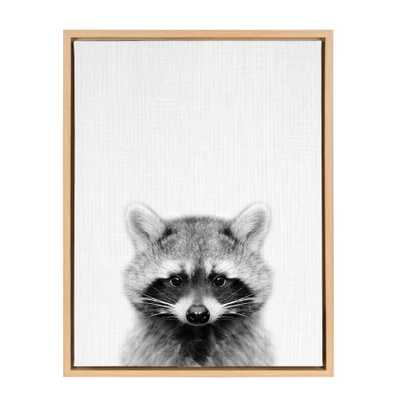 "Kate & Laurel 24""x18"" Sylvie Raccoon And Portrait By Simon Te Tai Framed Wall Canvas Wood - Target"