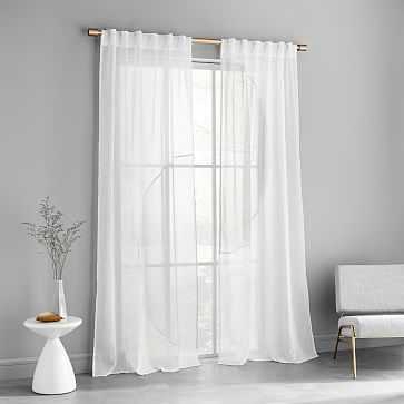 "Modern Circle Contrast Curtain, Set of 2, Stone White,/Frost Gray, 48""x108"" - West Elm"