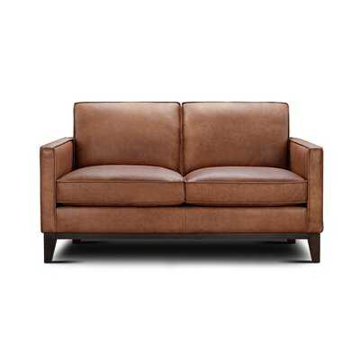 Whitson Leather Loveseat With Wood Base - Wayfair