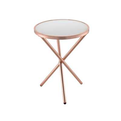 Lajita Frosted Glass and Rose Gold Side Table, Frosted Glass & Rose Gold - Home Depot