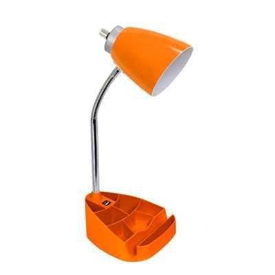 Simple Designs 18.5 in. Limelights Gooseneck Organizer Desk Lamp with iPad Tablet Stand Book Holder and USB port, Orange - Home Depot