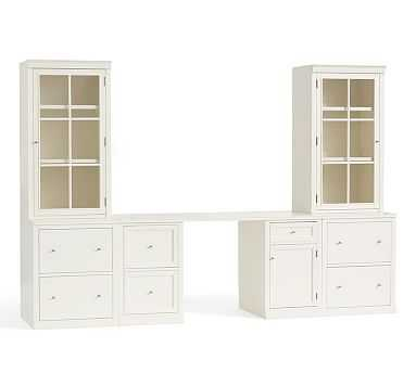 Logan Small Office Suite with File Cabinets, Antique White - Pottery Barn
