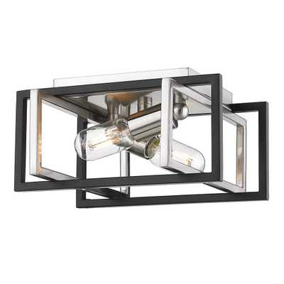 Golden Lighting Tribeca 11.5 in. 2-Light Pewter with Black Accents Flush Mount - Home Depot