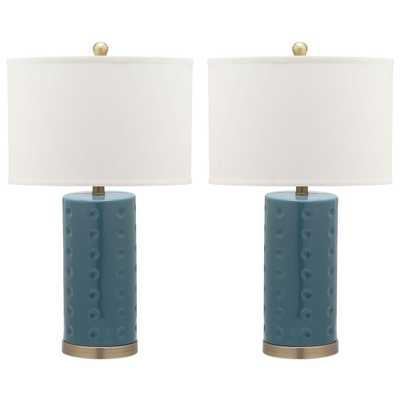 Safavieh Roxanne 26 in. Blue Table Lamp with White Shade (Set of 2) - Home Depot