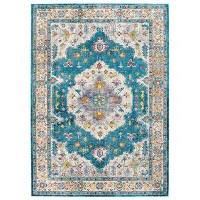 Kyte Distressed Vintage Floral Persian Medallion 4x6 Area Rug in Blue, Ivory, Yellow, Orange - Wayfair
