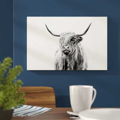 Portrait Of A Highland Cow by Dorit Fuhg - Picture Frame Fine Art Paper Print on Canvas - AllModern